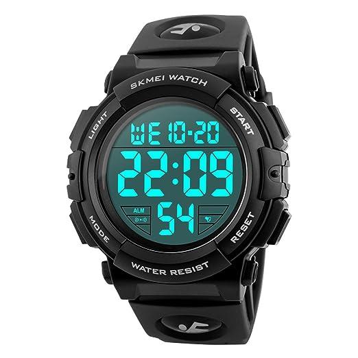 Reloj deportivo digital LED militar impermeable de 50 m para hombre con alarma: Amazon.es: Relojes