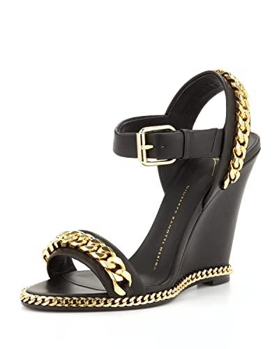 36260171343 Amazon.com: Giuseppe Zanotti Gold Chain Link Leather Wedge Sandal ...