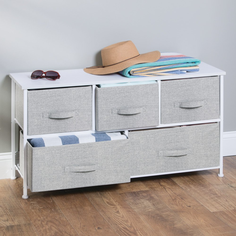 InterDesign Aldo Fabric 5-Drawer Dresser and Storage Organizer Unit for Bedroom, Apartment, Small Living Spaces – Gray by InterDesign (Image #6)