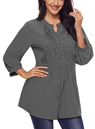 07154300d Astylish Women's Notch Neck Long Sleeve Button Down Loose Tunic Blouse Tops  Grey X-Large