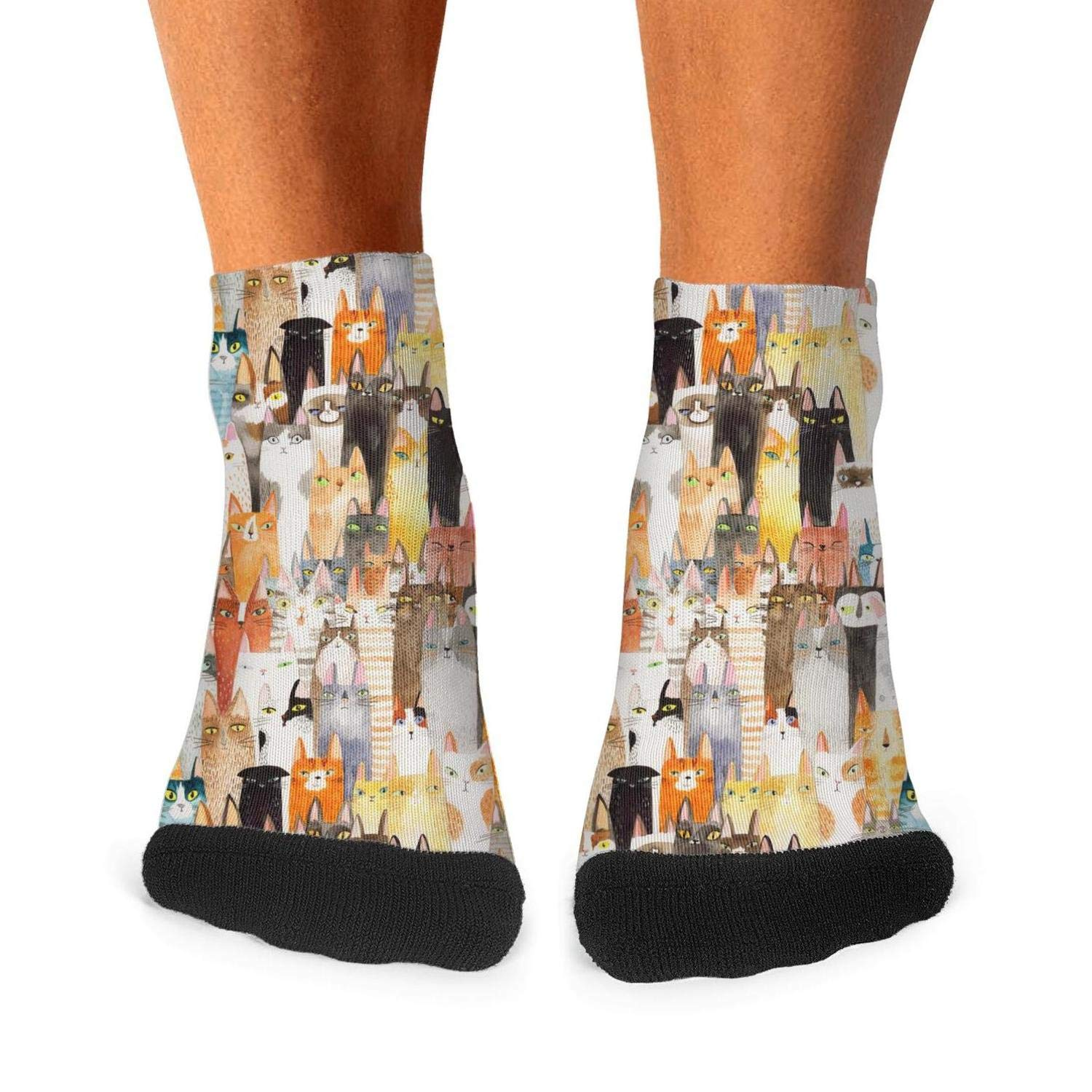 Mens athletic low cut Ankle sock Abstract Cats Short Fit Sock
