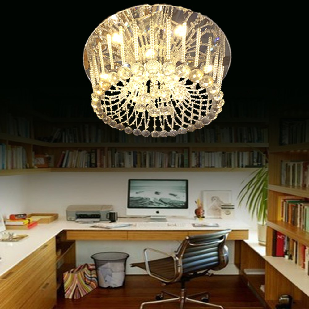 Eplazalighitng Ceiling Crystal Lights19. 5 Round Classic Style Transparent And Amber Color Led Lights 220V 27W