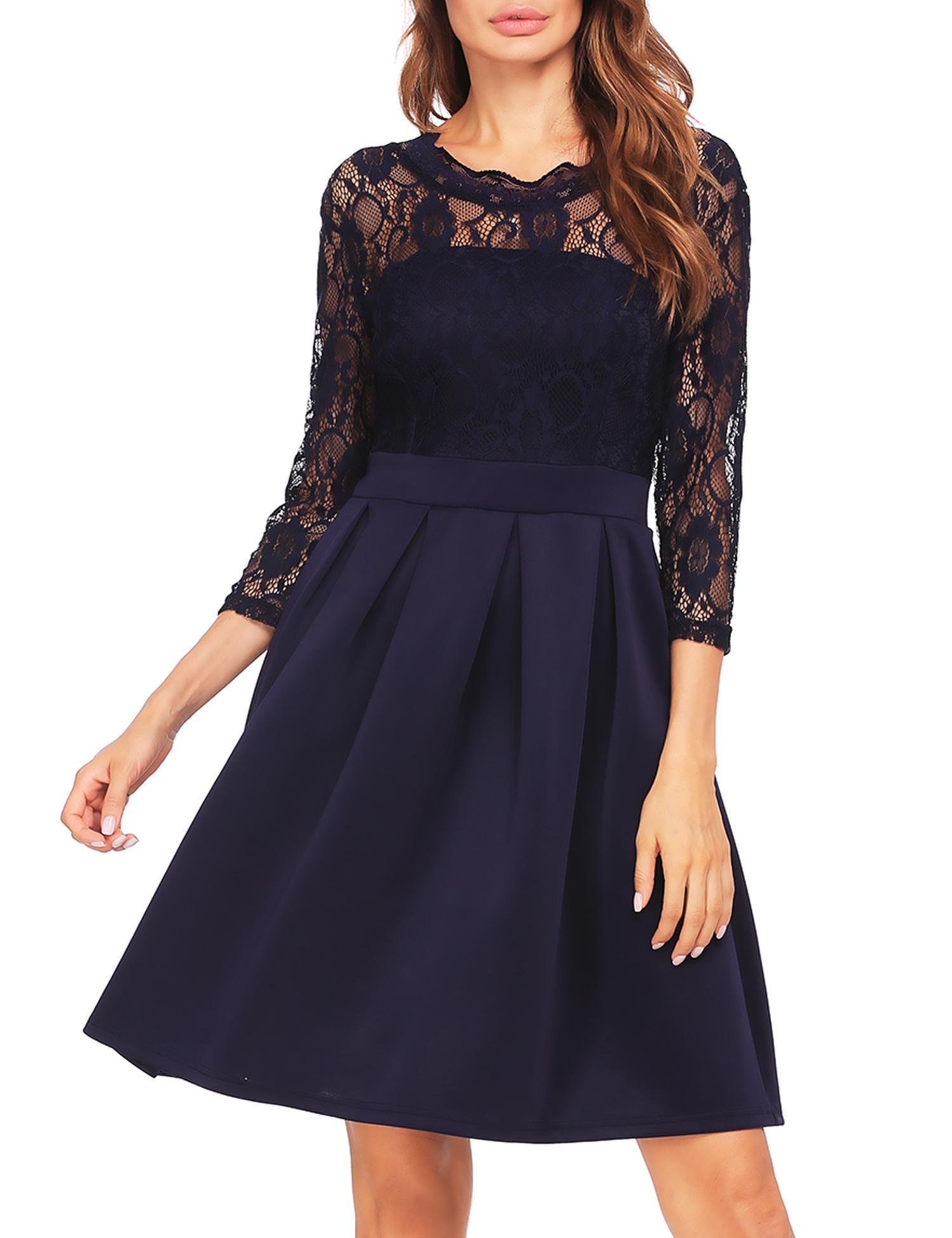 Zeagoo Women's Lace Vintage Hollow Out 3/4 Sleeve Pleated Cocktail Party Dress (Navy Blue XL)