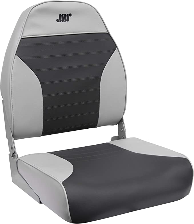 Wise 8WD734PLS-664 Low Back Fishing Boat Seat Fold Down Grey Charcoal Marine