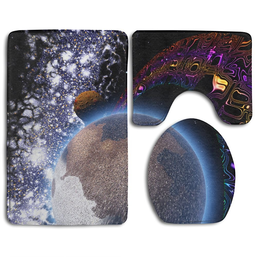Bathroom Non-Skid Carpet Bath Rugs 3 Pieces Set Water-Absorbing Space Wallpapers Flannel Toilet Floor Bath Mats Contour Rug Lid Cover