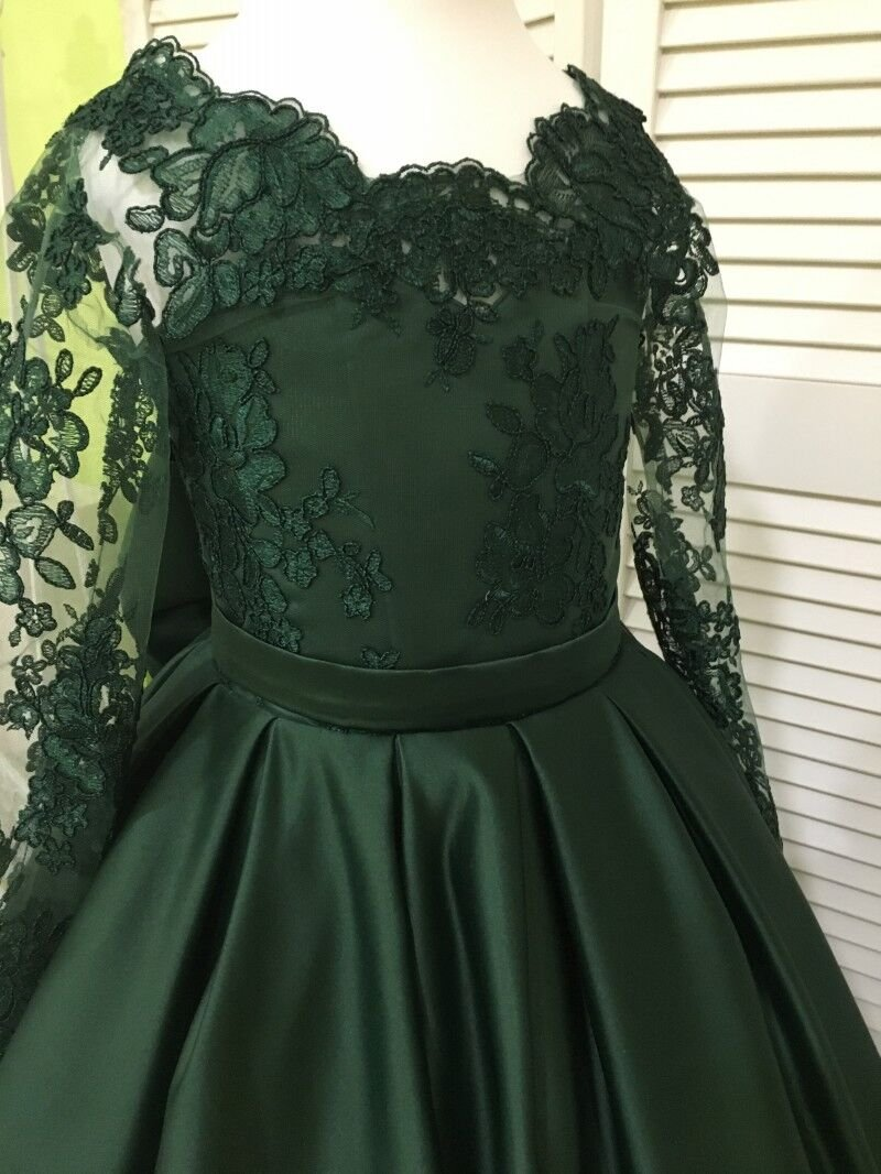Banfvting Dark Green Girls Pageant Dress With Bow Lace Sleeves by Banfvting (Image #4)
