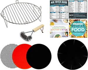 Air Fryer Toaster Rack Accessory Kit Compatible With Ninja, Power Airfryer Oven, Costway, Maxi-Matic, Chefman, Chulux, Costzon, Farberware, FrenchMay +More | Cheat Sheet Cooking Magnets + Grill Brush