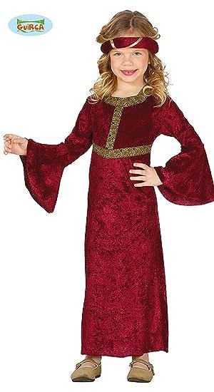 Guirca Funda para Trajes de niña Medieval de (10 – años), Color Granate, 81289