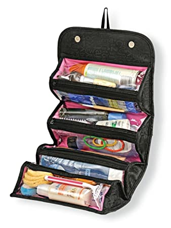 9209a2a27d55 Woogor Roll N Go Travel Buddy Cosmetic Toiletry Bag (Black)  Amazon.in  Bags