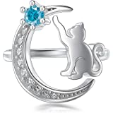 AOBOCO 925 Sterling Silver Cat Ring Cute Kitty Animal Ring for Animal Lovers Women Teen Girls Mom, Made with Swarovski…