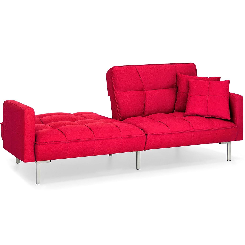 Amazon.com: Red Convertible Futon Linen Tufted Versatile Split Back ...