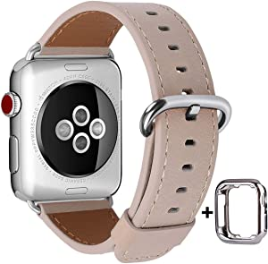 JSGJMY Compatible with Apple Watch Band 38mm 40mm 42mm 44mm Women Men Genuine Leather Replacement Strap for iWatch Series SE 6 5 4 3 2 1 (Light tan with Silver Stainless Steel Clasp, 38mm/40mm S/M)