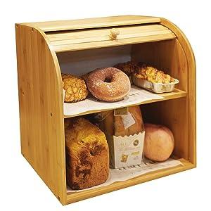 "Goodpick Bamboo Bread Box - 2 Layer Large Capacity Bread Box - Countertop Bread Storage Bin - Rolltop Breadbox - Bread Boxes for Kitchen Counter Large Capacity Bread Keeper,15"" x 14.2"" x 9.8"""