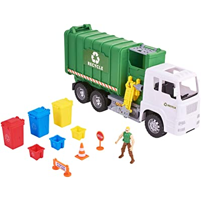 Kid Connection Powered Garbage Truck, Lights and Sounds Rugged Recycling Play Set, 11 Piece: Toys & Games