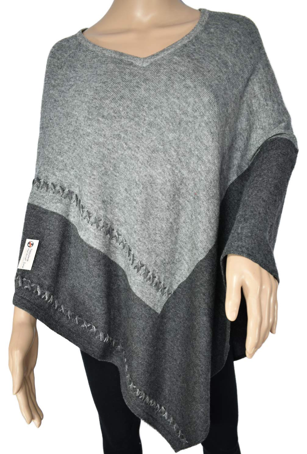 Exclusive Cashmere Poncho - Natural Color Pure Himalayan Cashmere - Handmade in Nepal