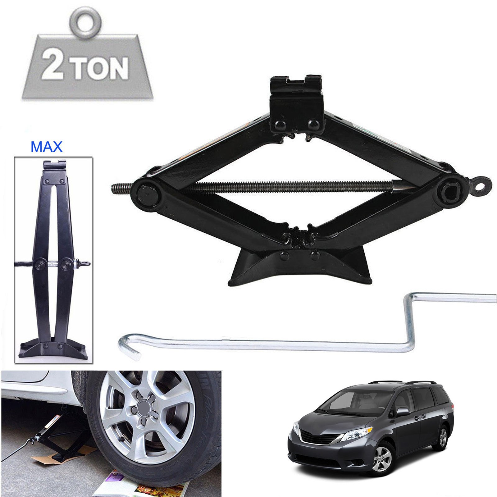 Vehicle Scissor Jack 2 Ton Automotive Car Jack Wheel Tire Changing Repair Kit with Chromed Speed Handle