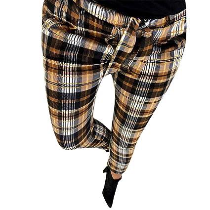 4569aa90d4 Pantalones de Cuadros Escoceses para Mujer Invierno Otoño PAOLIAN Pantalón  Lápiz Alta Cintura Vestir Tallas Grandes