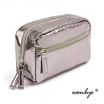 cf39a3014021 wonbye Travel Cosmetic Bag for Women Portable Leather Toiletry Bag Hanging  Makeup Organizer Double...