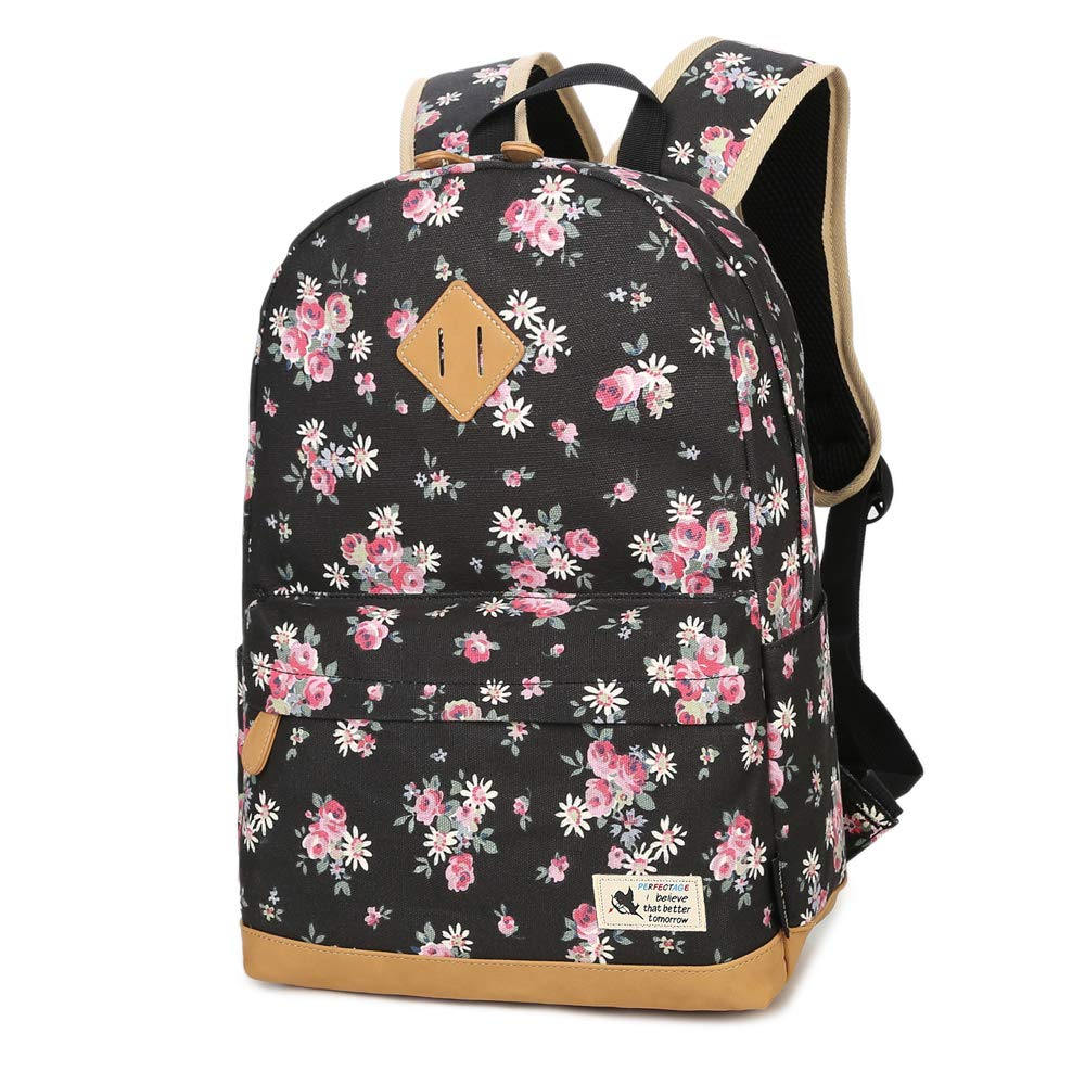 Canvas Casual Backpack for Women Student Backpack for Girls Laptop Backpack Travel Bag School Daypack (Black) LITTHING