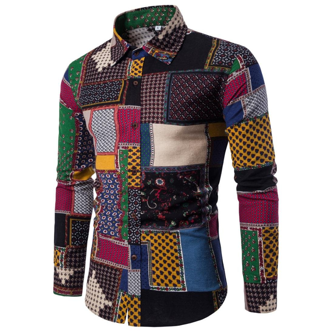 M, Multicolor 2 Men Shirts Daoroka Mens Boy Plus Size Casual Patchwork Printed Long Sleeve Button Collar Blouse Slim Fit Fashion Tops Comfort T Shirt
