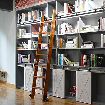 DIYHD - Escalera de granero de 100 cm de longitud de riel de color negro rústico con escalera deslizante para biblioteca (juego completo de rieles sin escalera): Amazon.es: Bricolaje y herramientas