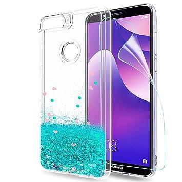 LeYi Funda Huawei Y7 2018 / Y7 2018 Prime 2018 Silicona Purpurina Carcasa con HD Protectores de Pantalla, Transparente Cristal Bumper Telefono Gel TPU ...
