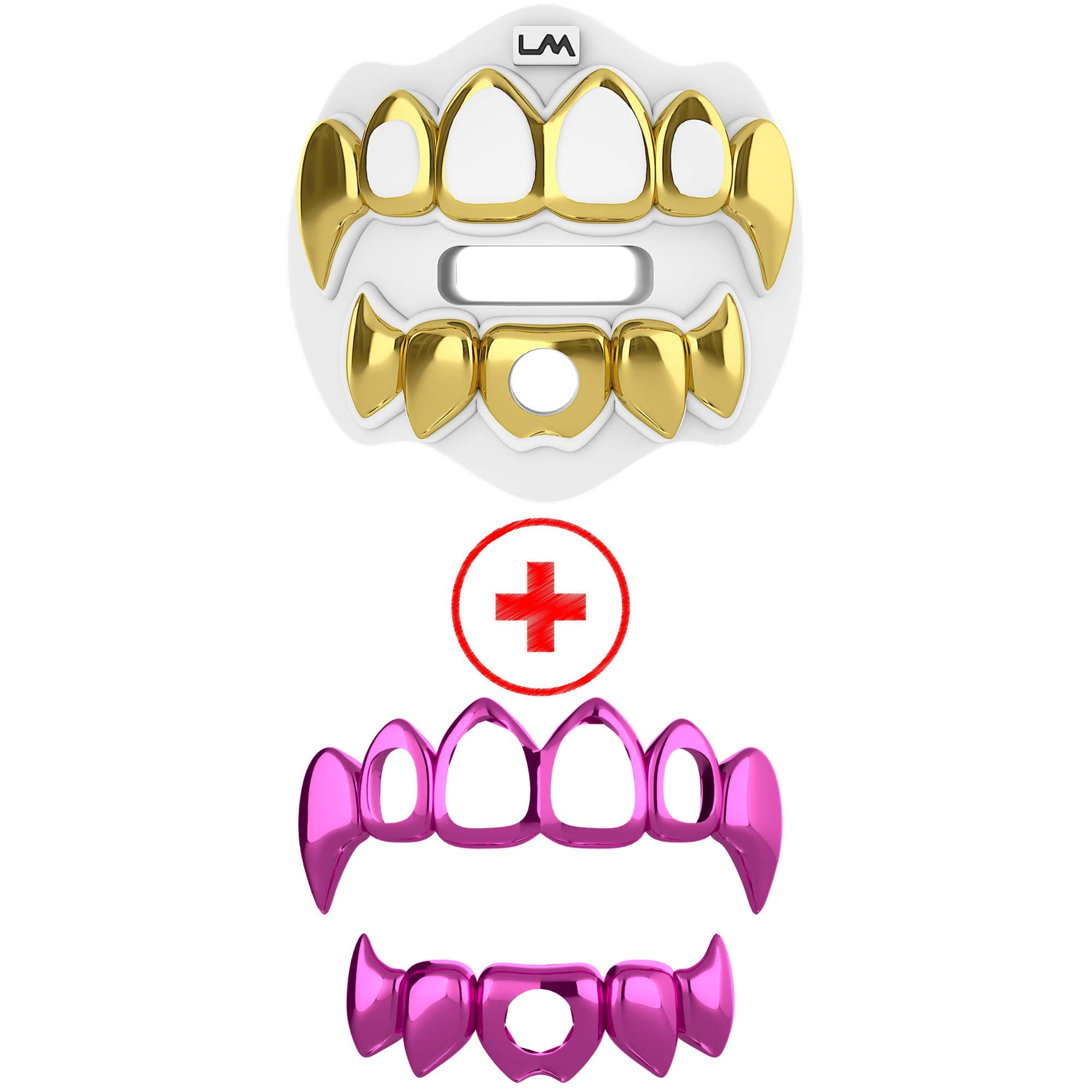 Loudmouth Football Mouth Guard | 3D Chrome Grillz Adult & Youth Mouth Guard | Mouth Piece for Sports | Maximum Air Flow Mouth Guards | Lip and Teeth Protector (3D Grillz - Chrome White/Gold + Pink) by Loud Mouth