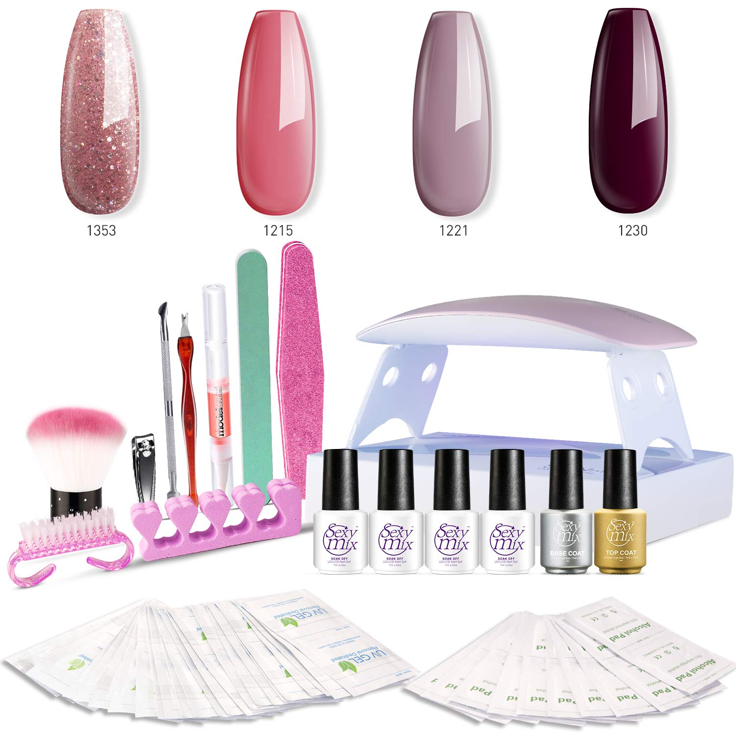 SEXY MIX Gel Nail Polish Kit with UV LED Light, Home Gel Nail Polish Kit Manicure Tools 4 Colors Gel Nail Polish Base and Top Coat, Portable Kit for Travel by SEXY MIX