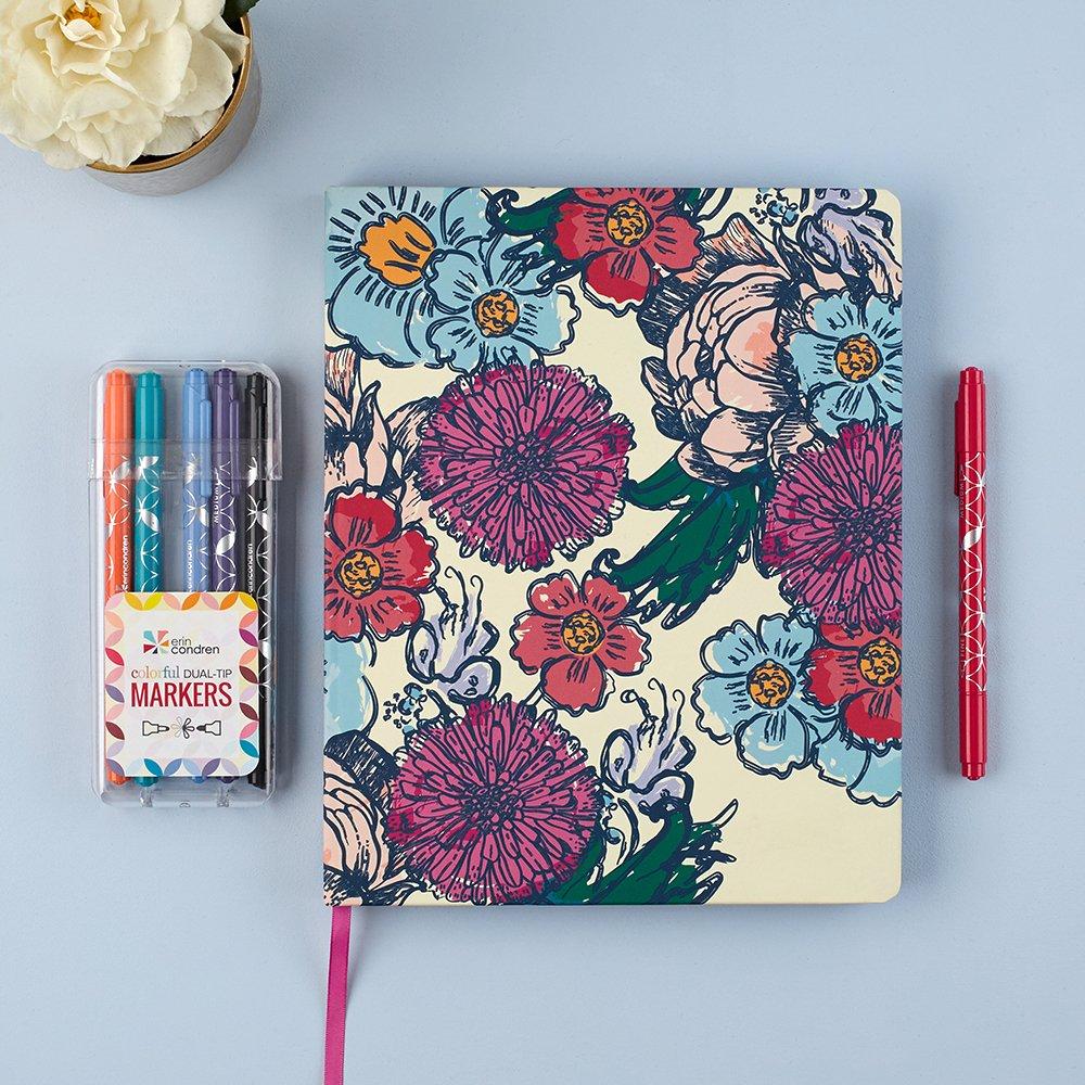 Calendario académico flores con diseño de flores académico dibujado a mano, de Erin Condren f649c3