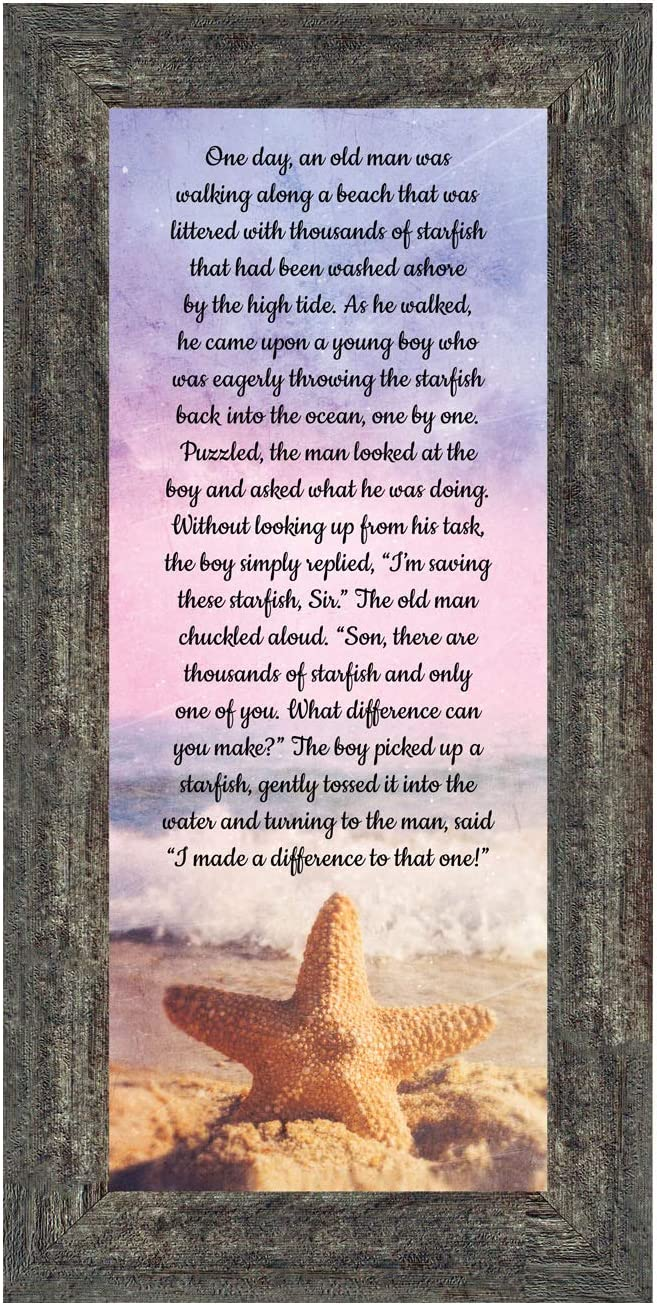 The Starfish Story Teacher Gift, The Legend of The Starfish Wall Decor, Thank You Gifts or Encouragement Gifts, Thinking of You Gifts, Add to Your Thank You Gift Basket, Framed Home Décor 7395BW