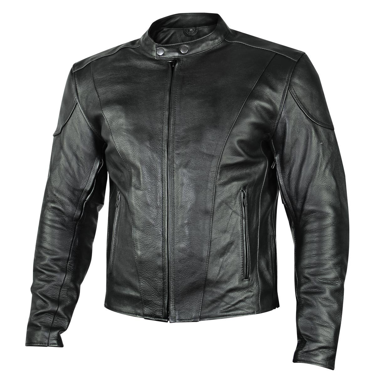 Xelement B7209 Renegade Mens Black Leather Motorcycle Jacket - Small