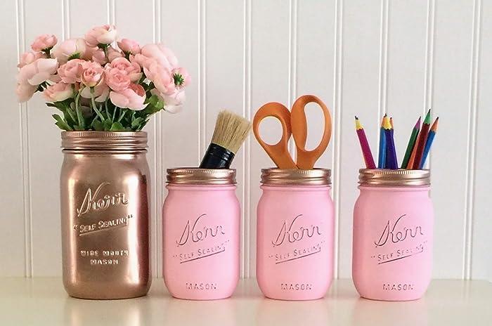 Mason Jar Desk Décor, 4 Piece Set, Rose Gold And Pink Office Accessories