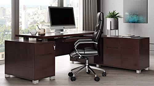 Dark Wood Finish Ford Executive Modern Desk - a good cheap modern office desk