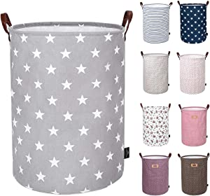 DOKEHOM 19-Inches Thickened Large Laundry Basket -(9 Colors)- with Durable Leather Handle, Drawstring Waterproof Round Cotton Linen Collapsible Storage Basket (Grey Star, L)