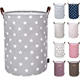 DOKEHOM 22-Inches Thickened X-Large Laundry Basket -(9 Colors)- with Durable Leather Handle, Drawstring Waterproof Round Cotton Linen Collapsible Storage Basket (Grey Star, XL)