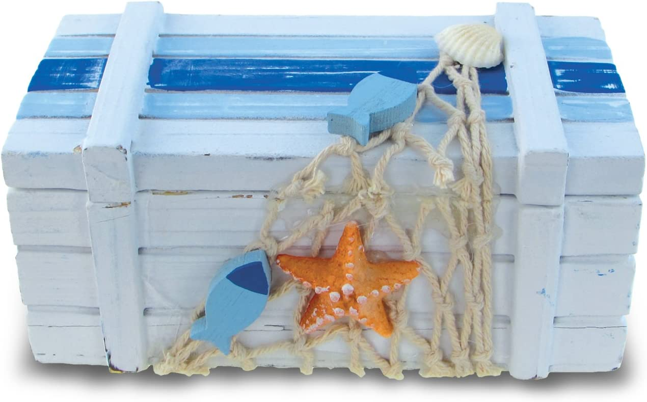 """Puzzled Small Light Blue Striped Wood Jewelry Box, 5 x 2.5"""" Handcrafted Hinged Lid Starfish Fishes Decorations Keepsake Organizer or Gift Box for Rings, Necklaces & Trinkets - Nautical Marine Life Bea"""