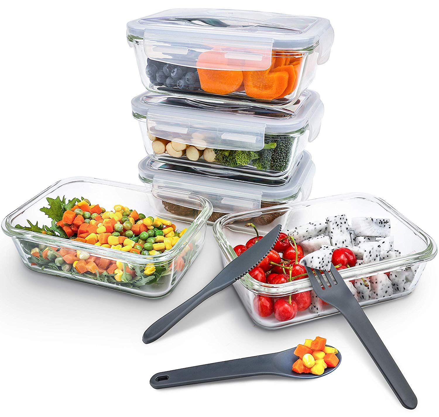 Pohl+Schmitt Glass Meal Prep Containers - Food Prep Candy Dish - Airtight - Portion Control - Bpa-Free