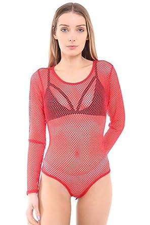 e4428e5b8ae New Womens All Over Full Fishnet Mesh Slim Fit Long Sleeve Bodysuit Leotard  Top (M L Uk 12-14