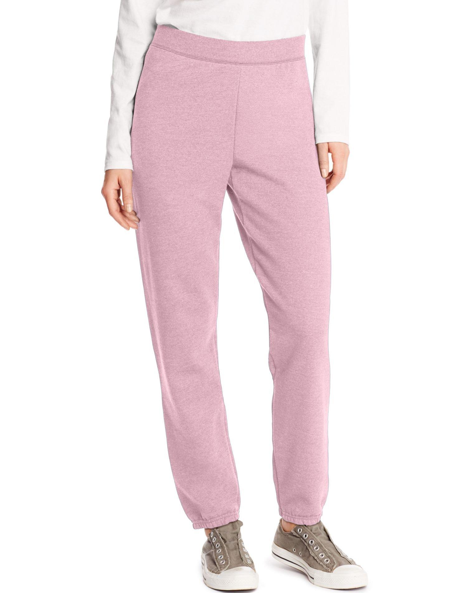 Hanes Women's Mid Rise Cinch Leg Pant, Pale Pink, Small