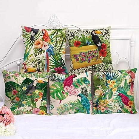 XiaoHeJD Flor Tropical Conjunto de Cojines Flor Loro patrón ...