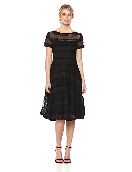 Sangria Womens Illusion Yoke Lace Fit Flare At Amazon Womens