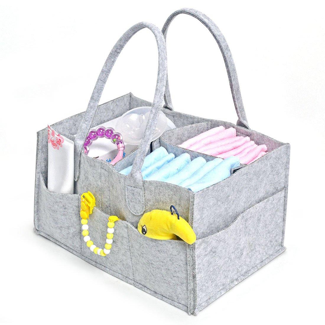 Freahap Baby Mutter Tasche mit vielen Fächern tragbare Windeltasche Handtasche Grau Beautylife66