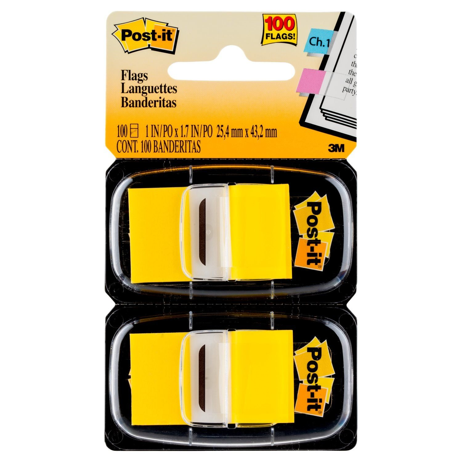 Post-it Flags, Yellow, 1-Inch Wide, 100 Flags, Use to Highlight Important Information (680-YW2)