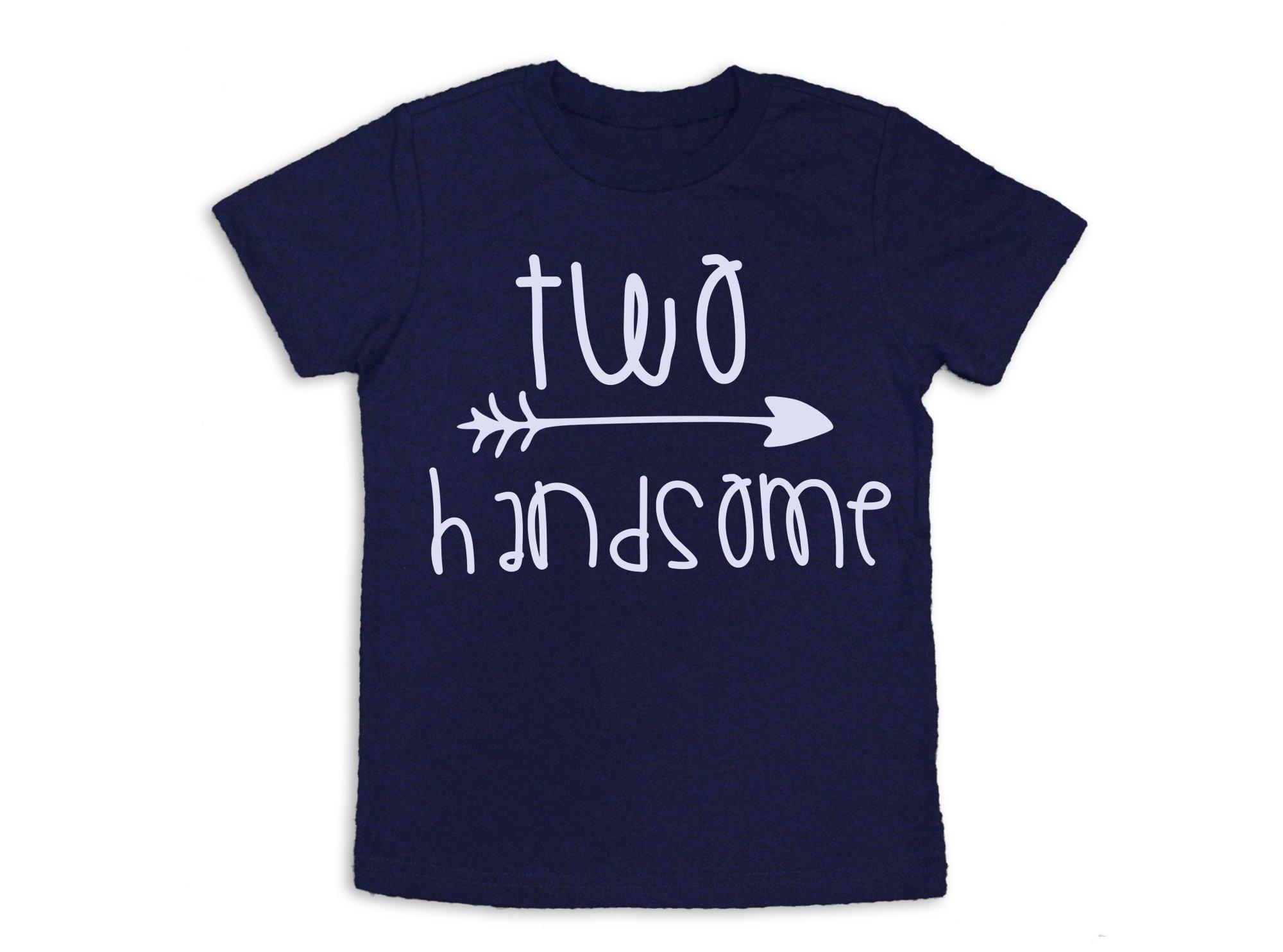 Second Birthday Shirt Two Handsome Shirt 2nd Birthday Tee (Navy Blue, 3T)