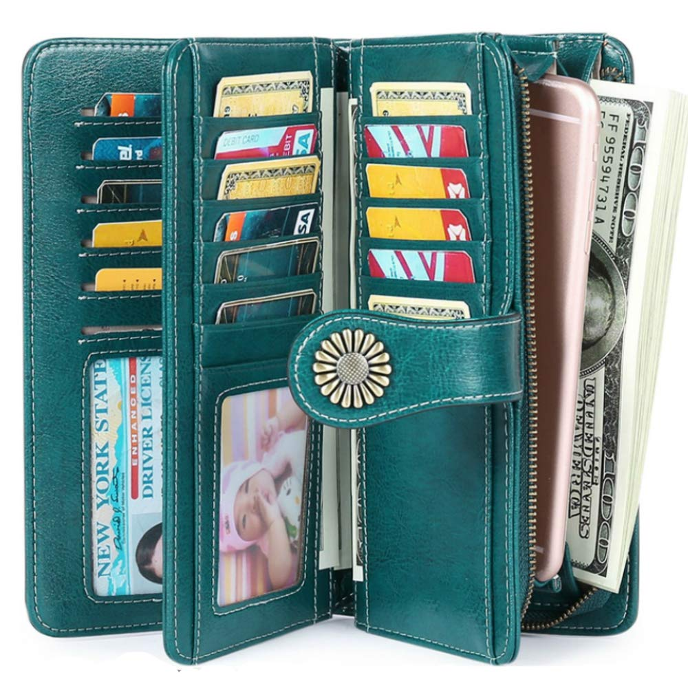Women's Wallets Large Capacity with RFID Protection Genuine Leather by SENDEFN