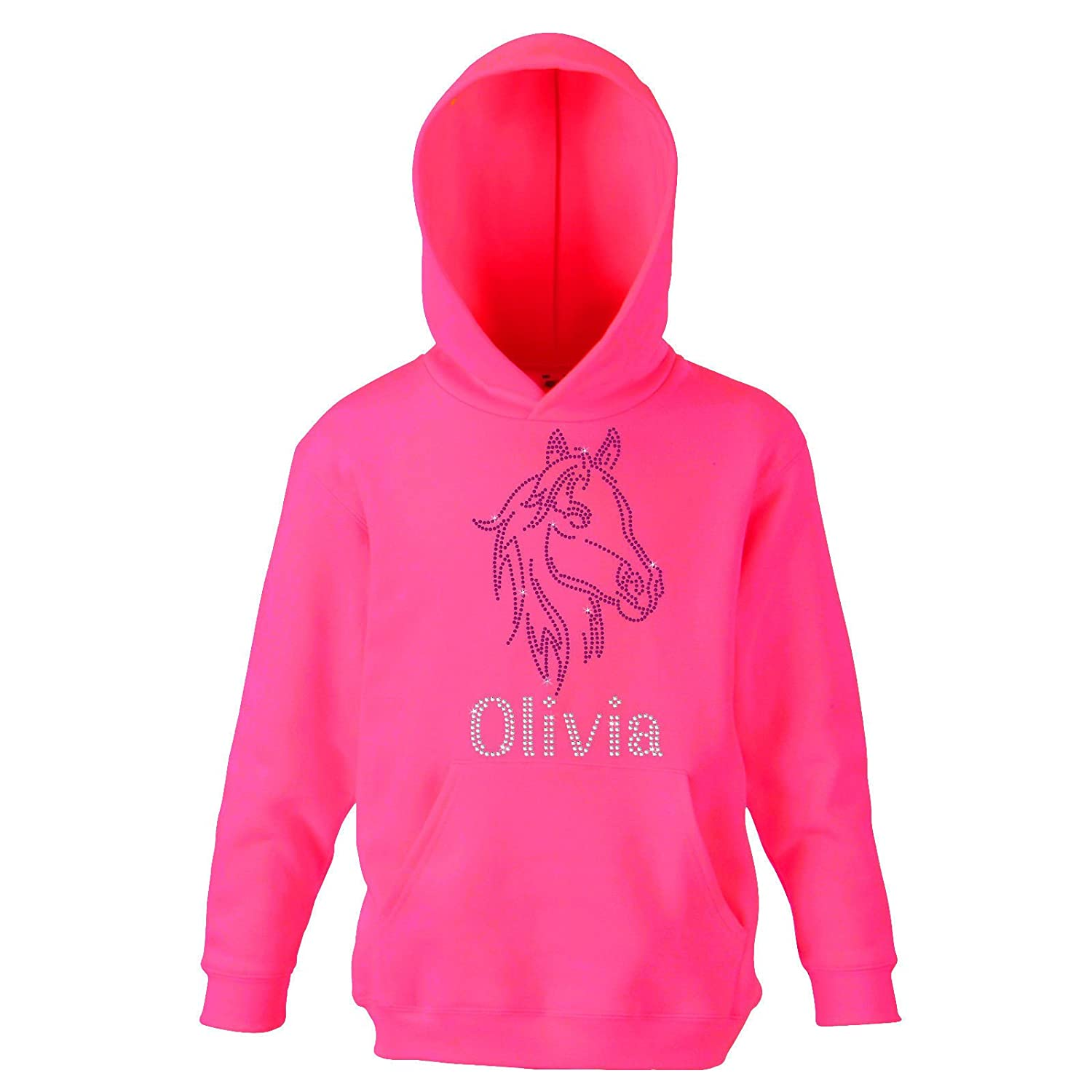 Fuchia PINK 9-11 Years Girl's Horse Face riding Personalised Hoodie Crystal Dance Jumper Leotard kids Hoody(K) By Varsany