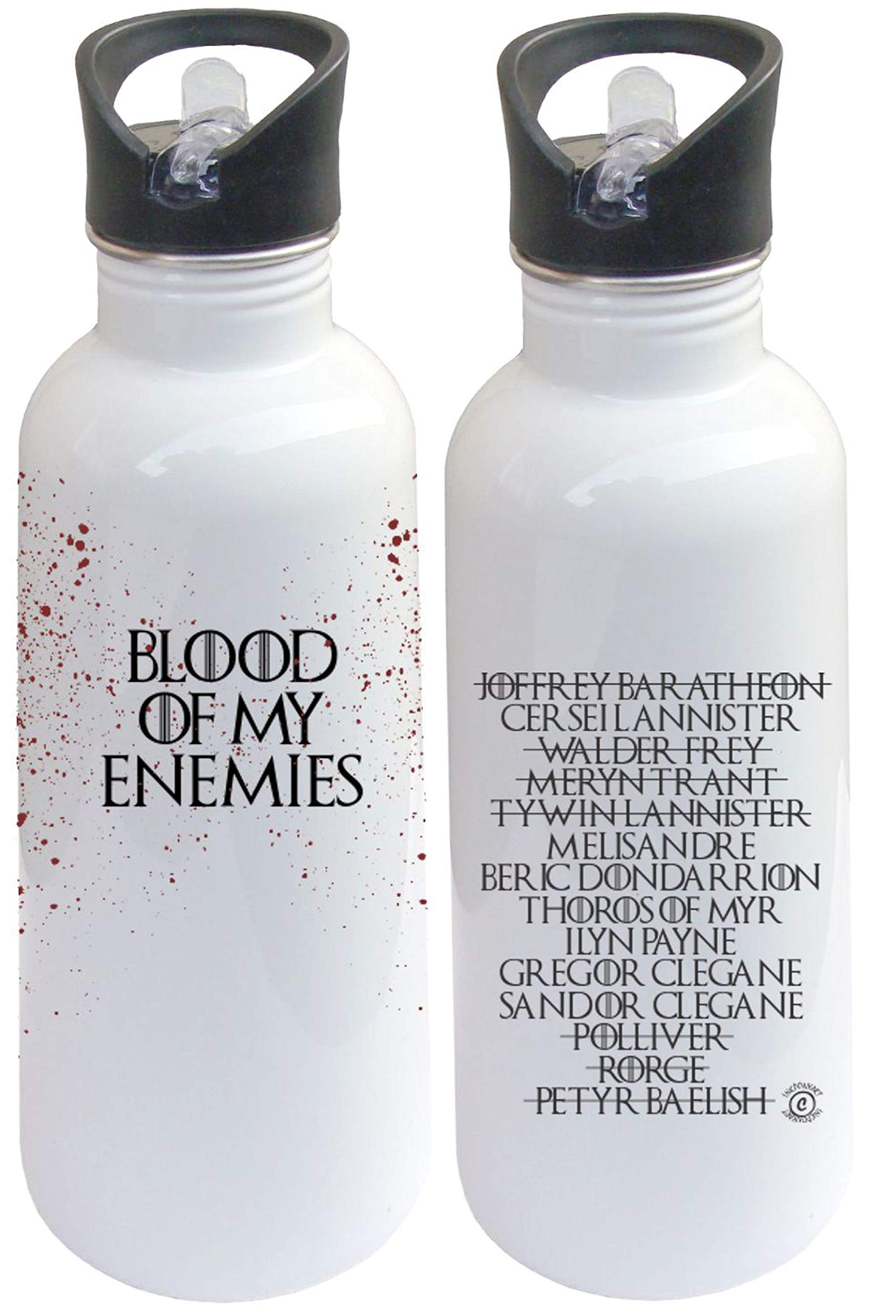 "InkPonyArt Blood of My Enemies"", Arya Stark Kill List, by Water Bottle, Game of Thrones Inspired, GOT Fan, Gift for Friend, Brother, Sister"