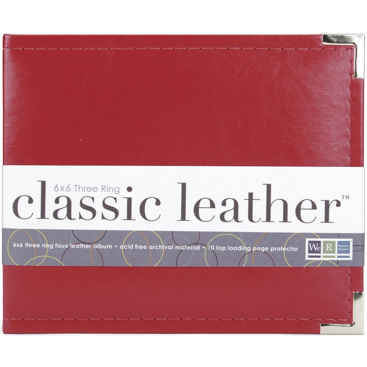 We R Memory Keepers 40393-7 Classic Leather - 6x6 inch Ring Album, Real Red by We R Memory Keepers