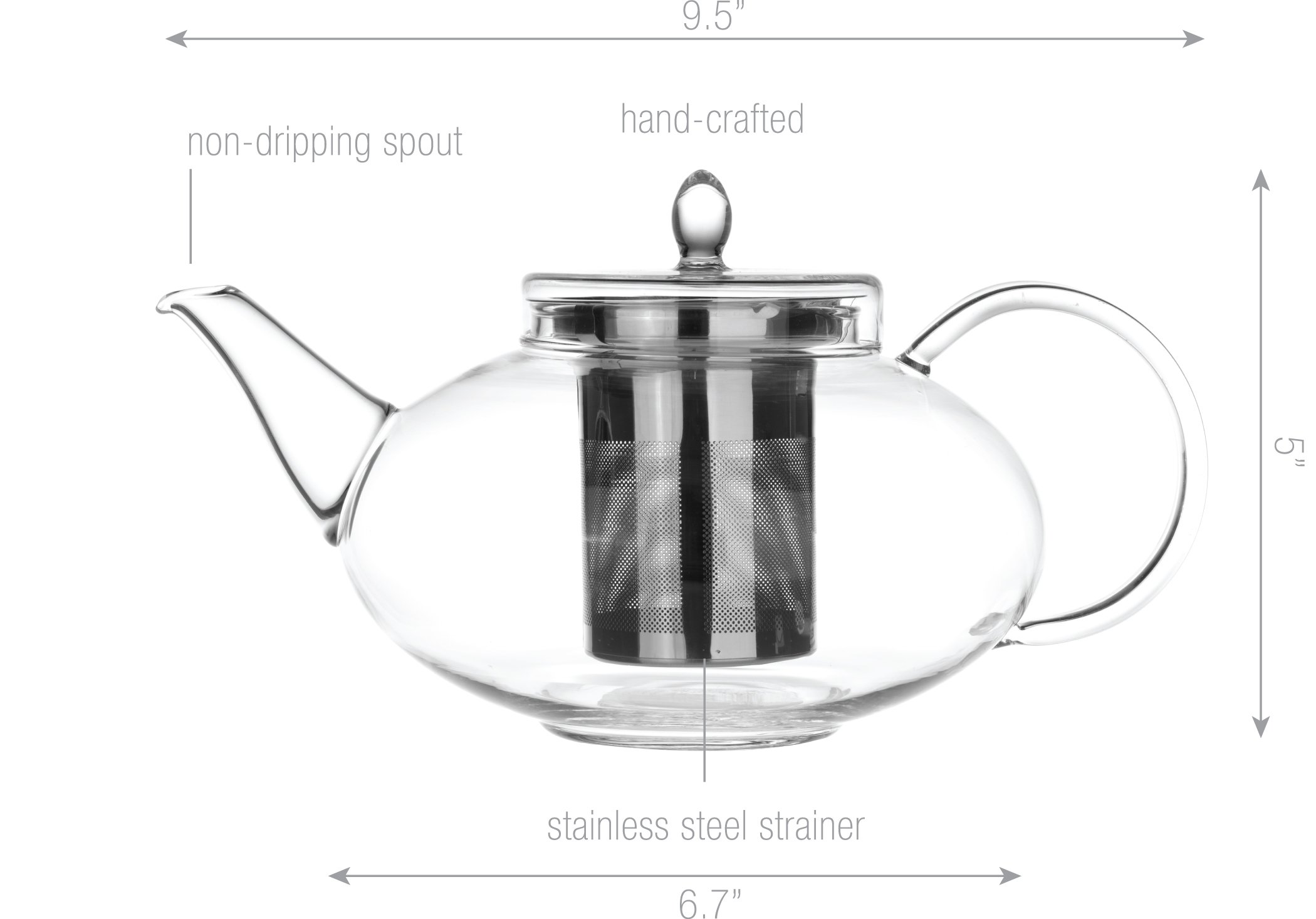 Glass Teapot Harmony, 42oz/1242ml with Tea Warmer Cozy Lead Free Special Glass No Drip by Tea Beyond by Tea Beyond (Image #4)