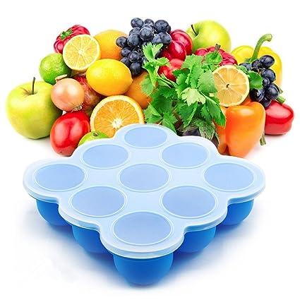 Bandeja de Congelador de Alimentos para Bebé Contenedor de Almacenamiento de Alimentos 9 tazas con tapa
